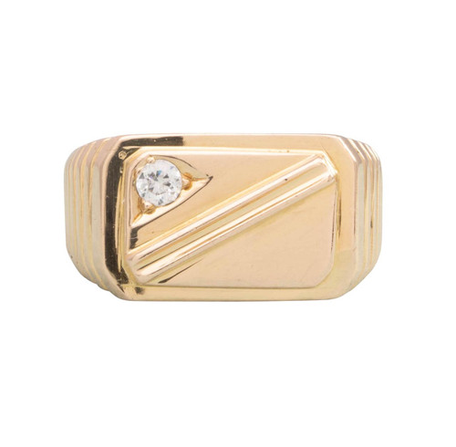 Second Hand 14ct Gold Cubic Zirconia Rectangle Signet Ring