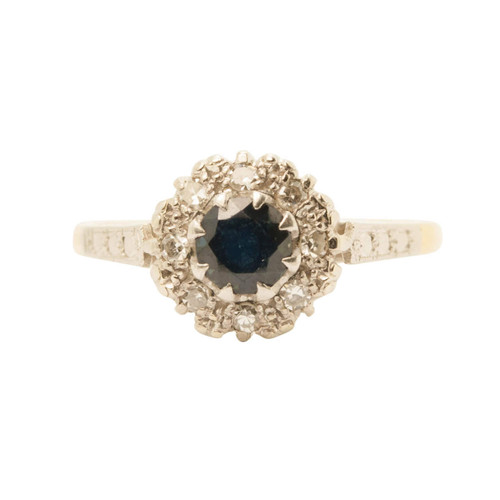 Second Hand 18ct Gold, Sapphire & Diamond Cluster Ring