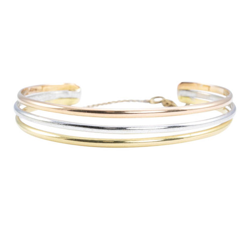 Second Hand 18ct 3 Coloured Gold Bangle
