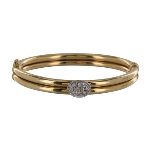 Second Hand Italian 9ct Gold Diamond Set Bangle