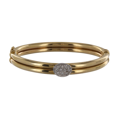 Second Hand Italian 9ct Gold Diamond Set Bangle