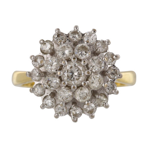 Second Hand 18ct Gold Triple Row Cluster Diamond Ring