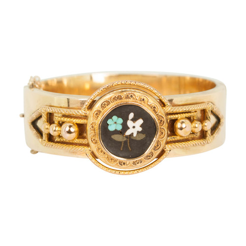 Antique Victorian Gold Pietra Dura Bangle