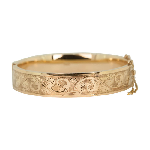 Vintage 9ct Gold Wide Engraved Bangle
