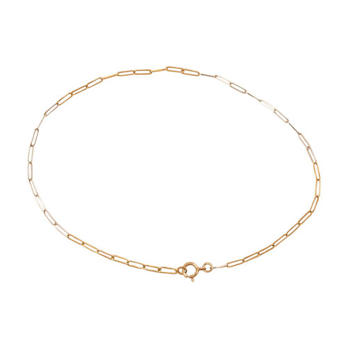 Second Hand 9ct Gold Two Colour Cable Link Anklet