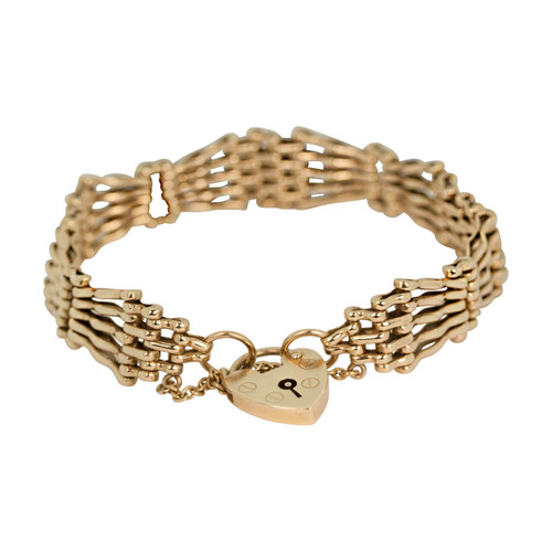 Vintage 9ct Gold Fancy 5 Bar Gate Bracelet & Heart Padlock