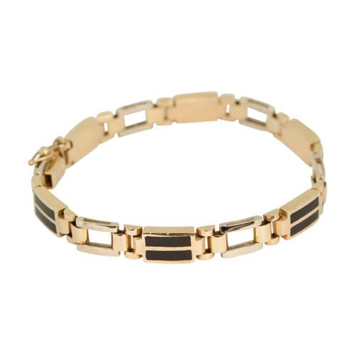 Second Hand 14ct 2 Colour Gold 2 Onyx Bracelet
