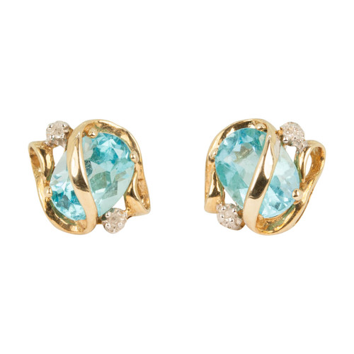 Second Hand 9ct Gold Blue Topaz & Diamond Stud Earrings