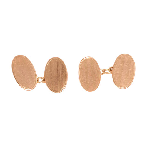 Vintage 9ct Rose Gold Oval Chain Link Cufflinks