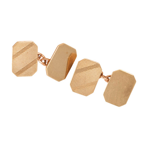 Vintage 9ct Gold Octagonal Chain Link Cufflinks
