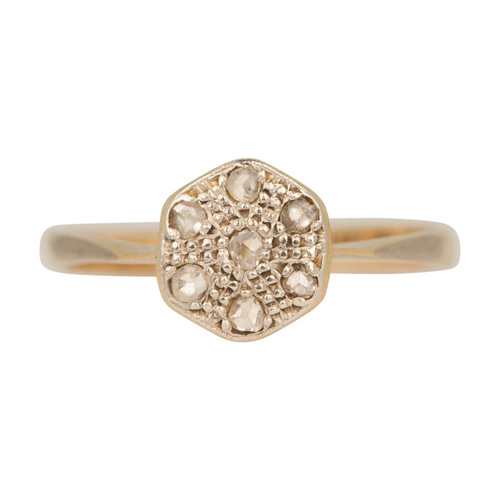 Antique Victorian 18ct Gold Diamond Daisy Cluster Ring