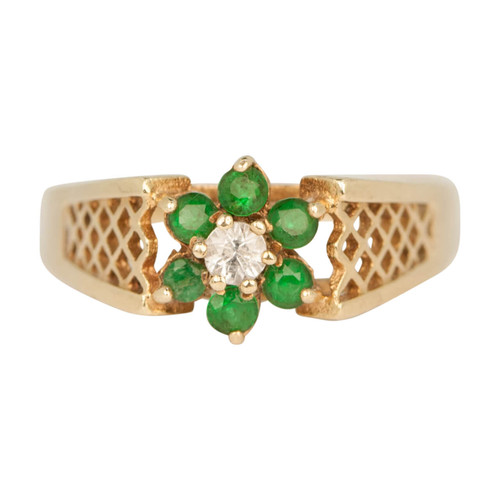 Second Hand 9ct Gold Emerald & Spinal Daisy Cluster Ring