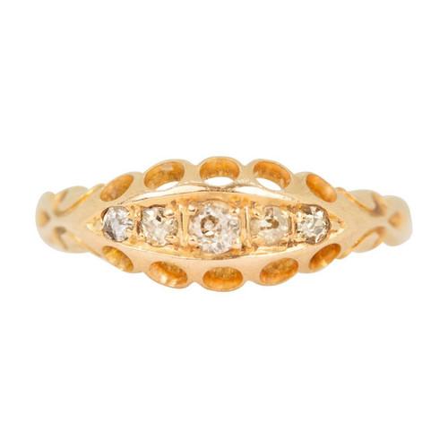 Antique Edwardian 18ct Gold 5 Stone Diamond Ring