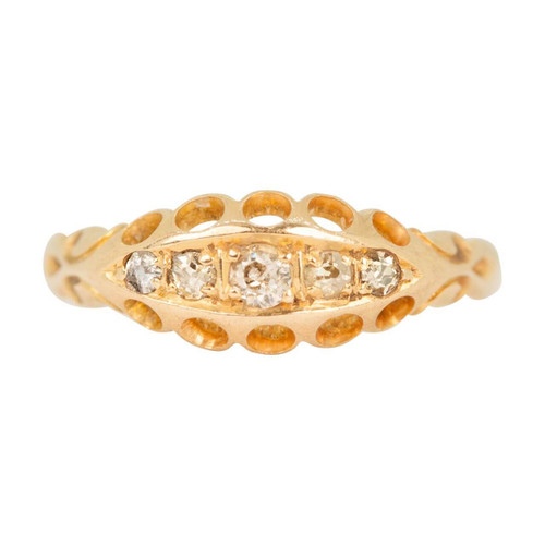 Antique Edwardian 18ct Gold 5 Stone Diamond Ring