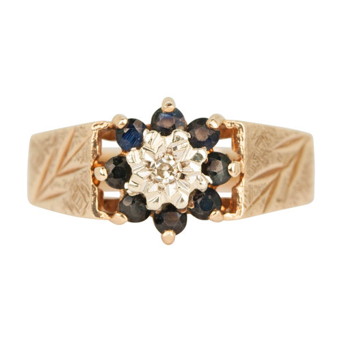 Second Hand 1970's 9ct Gold Sapphire & Diamond Cluster Ring