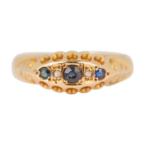 Antique Edwardian 18ct Gold Sapphire & Diamond Ring