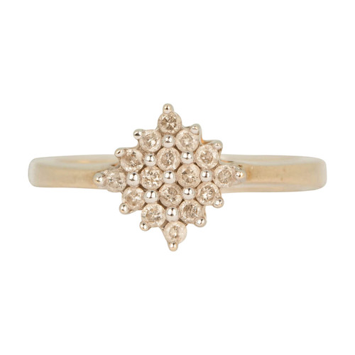 Second Hand 9ct Gold Diamond Shaped Diamond Cluster Ring