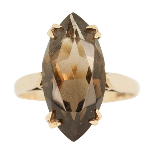 Second Hand 9ct Gold Marquise Cut Smokey Quartz Dress Ring