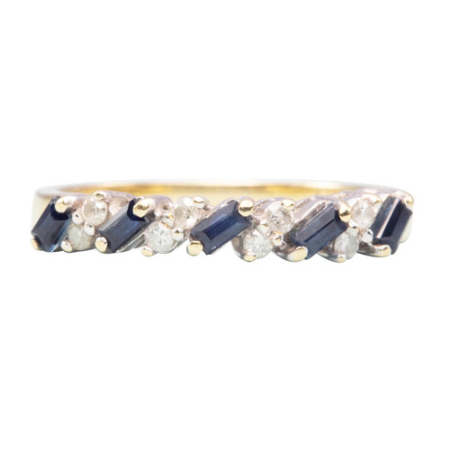 Second Hand 18ct Gold Baguette Cut Sapphire & Diamond Eternity Ring