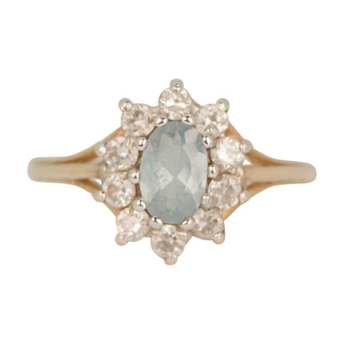 Second Hand 9ct Gold Blue Spinel Cluster Dress Ring