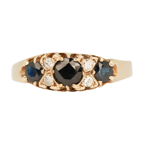 Second Hand 9ct Gold Sapphire & Diamond Seven Stone Cluster Ring