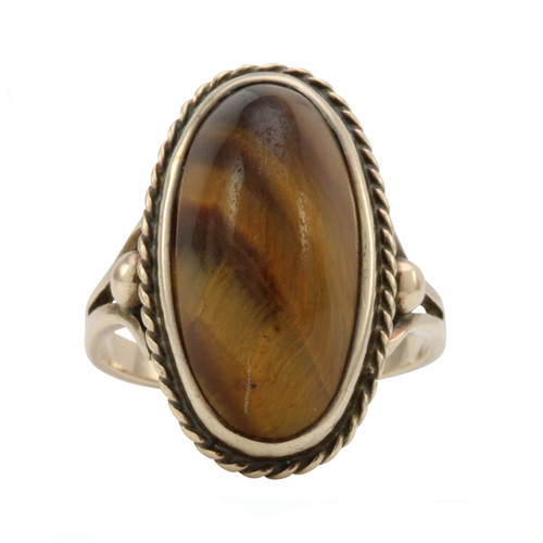 Second Hand 9ct Gold Tigers Eye Oval Ring