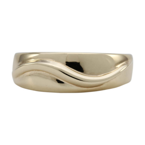 """Second Hand 9ct Gold """"Wave"""" Wedding Band"""