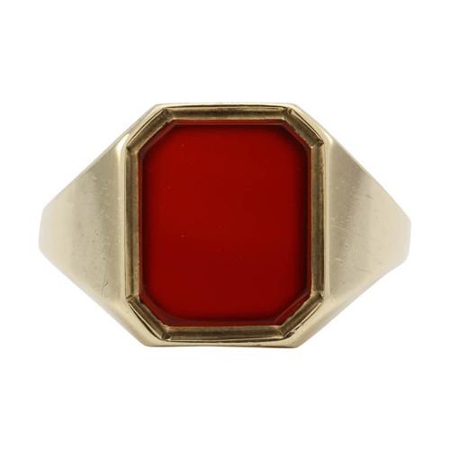 Second Hand 9ct Gold Octagonal Carnelian Signet Ring