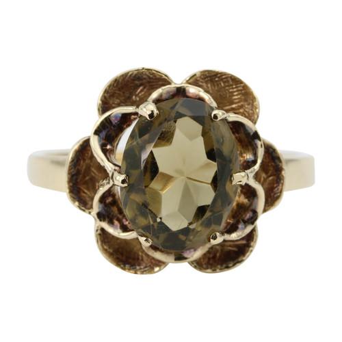Second Hand 9ct Gold Smoky Quartz Scalloped Ring