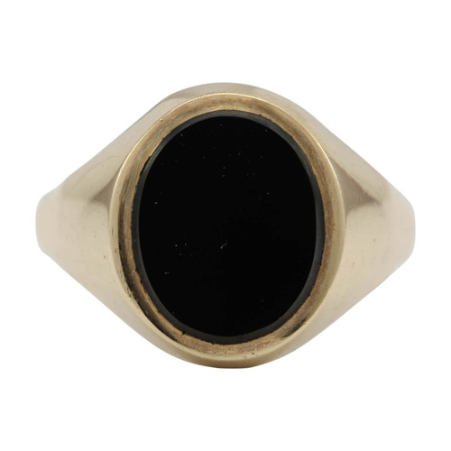 Second Hand 9ct Gold Oval Onyx Signet Ring