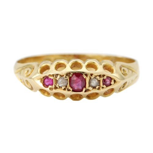 Antique Edwardian 18ct Gold Ruby & Diamond Gypsy Ring