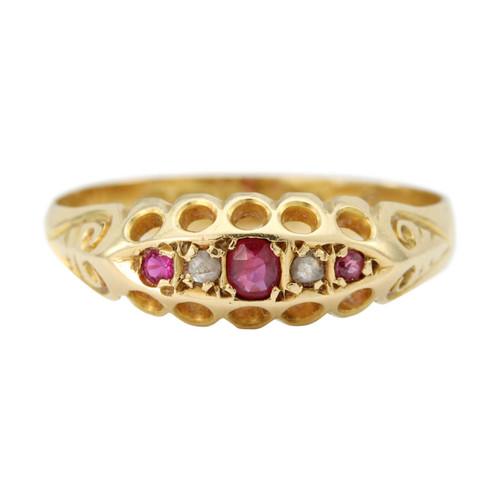 Antique Edwardian 18ct Gold Ruby & Diamond Gypsy Ring