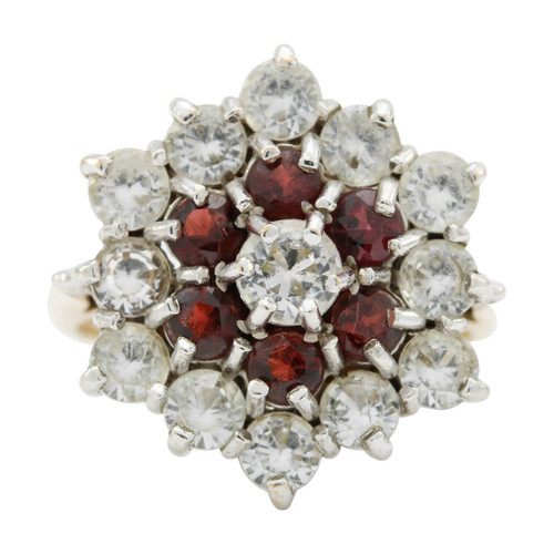 Second Hand 9ct Gold Garnet & Paste Cluster Ring