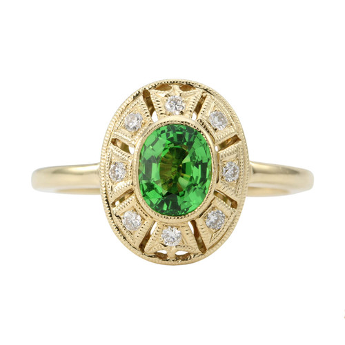 Second Hand 14ct Gold Tsavorite & Diamond Cluster Ring