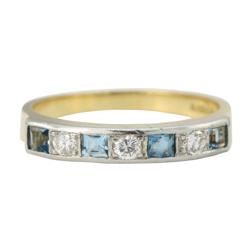 Second Hand 18ct Gold Aquamarine & Diamond Eternity Ring