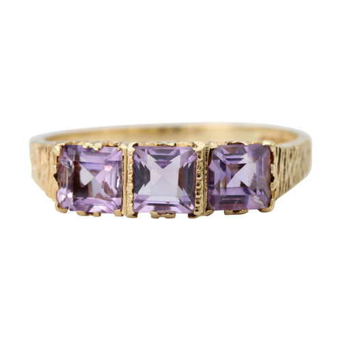 Second Hand 9ct Gold Amethyst 3 Stone Ring