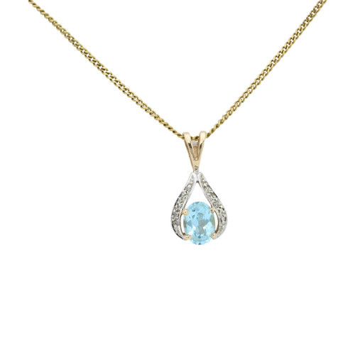 Second Hand 9ct Gold Blue Topaz & Diamond Pendant