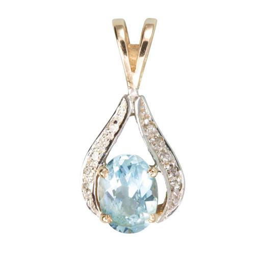 Second Hand 9ct Gold Blue Topaz & Diamond Pendant