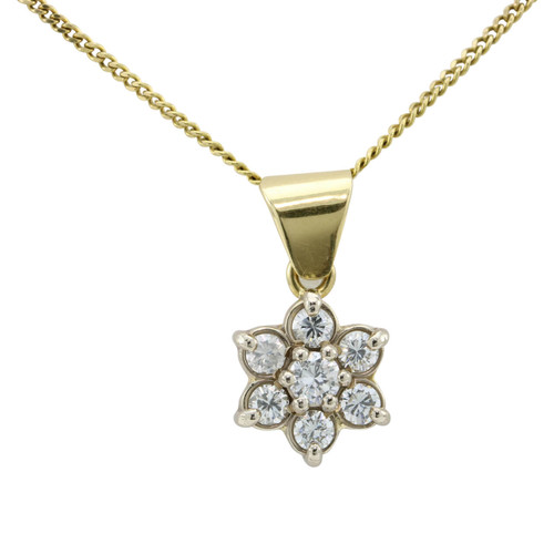 Second Hand 18ct Gold 7 Stone Diamond Daisy Cluster Pendant