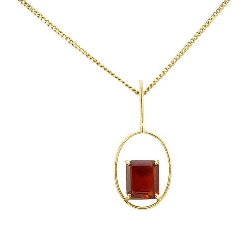 Second Hand 18ct Gold Spessartite Garnet Loop Pendant
