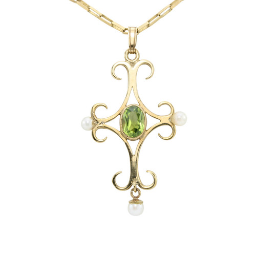 Second Hand Art Noveau Vintage Style 9ct Gold Peridot & Pearl Cross Pendant & Chain