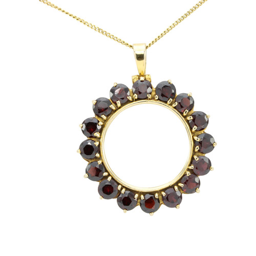 Large Second Hand 9ct Gold Garnet Round Pendant