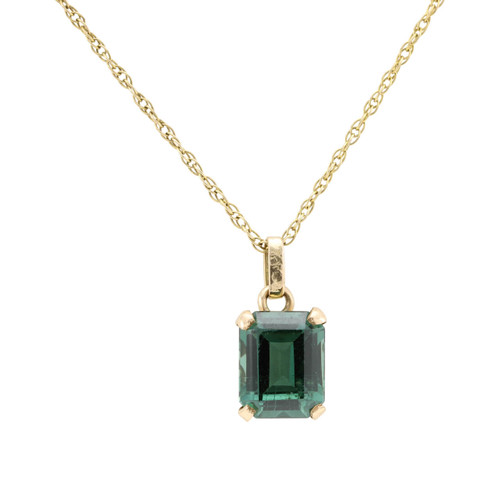 Second Hand 14ct Gold Green Spinel Pendant and Chain