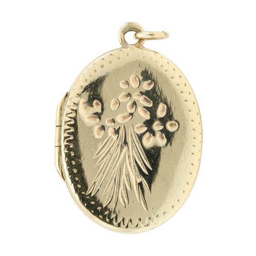 Second Hand 9ct Gold Floral Oval Locket