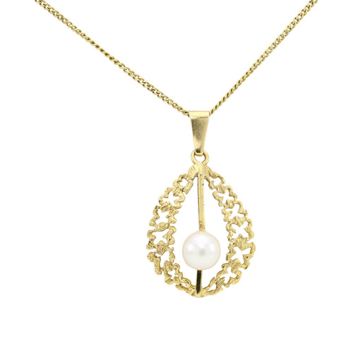 Second Hand 9ct Gold Cultured Pearl Openwork Pendant