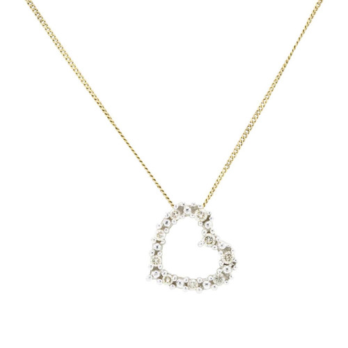Second Hand 9ct Gold Diamond Heart Pendant