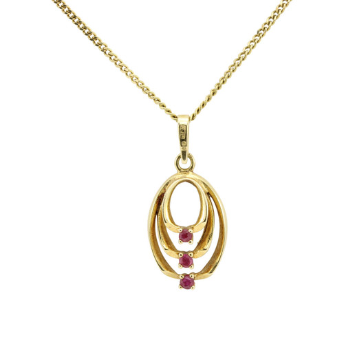 Second Hand 18ct Gold Ruby Pendant & Chain