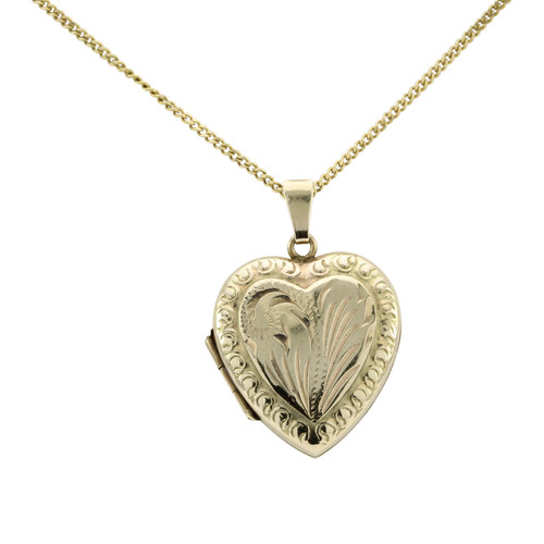 Second Hand 9ct Gold Engraved Heart Locket