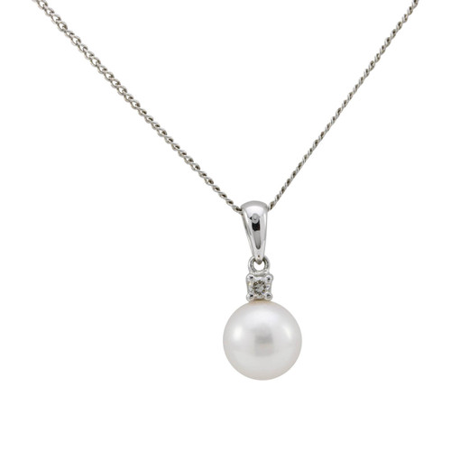 Second Hand Freshwater Pearl & Diamond 9ct White Gold Pendant & Chain