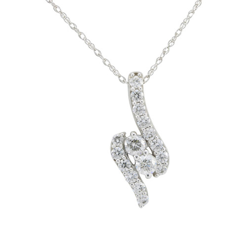 Second Hand 14ct White Gold Triple Row Diamond Pendant